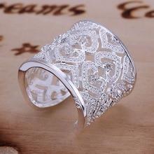 R106 размер : оптовая продажа посеребренная кольцо, Серебряный мода ювелирных изделий, Инкрустированные нескольких в форме сердца - серебристый - кольцо-открыт / besajvzasn