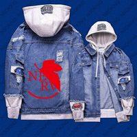 New Spring NEON GENESIS EVANGELION EVA hoodie Anime Jeans Coat Men reflect light Women Fashion Jacket