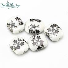 15mm Black Flower Glazed Ceramic Beads For Jewelry Making Bracelet DIY Accessories Loose Spacer Charm Porcelain Bead Wholesale