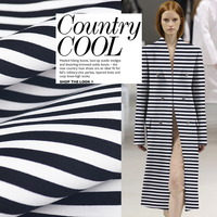 Sandwich Three Layer Air Layer Profile Fabric Black And White Stripes Space Cotton Fabric Sweater Dress