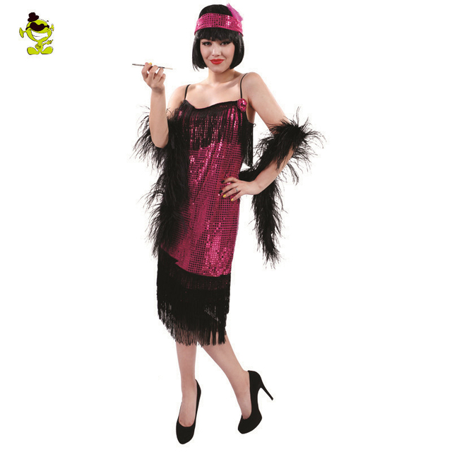 Womens Black And Purple Sequin Flapper Dress Costume adult 1920 s fancy  dress Cosplay Party Costumes f79275648dc8