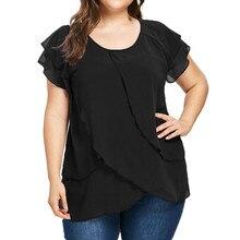 Women T Shirt Black Top Summer Short Sleeve T-Shirt Casual Chiffon Plus Size Solid Color Ruffles Tops 4XL