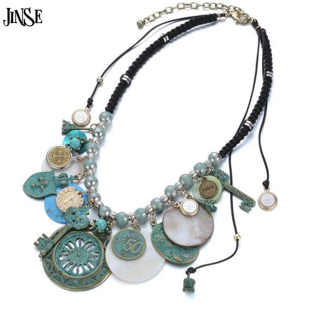 JINSE BLS078 bronce Antiguo pequeño colgante de joyería geométrica colgante 2017 summer style turquoise shell collar tejido collar