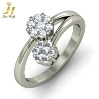 Jinhui Women The Diva Ring Solid 18K White 750 Gold 0.392CT Natural Diamond Jewelry Free Engraving