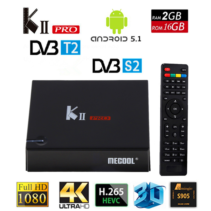 MECOOL KII PRO DVB S2 T2 Android TV Box 2GB 16GB DVB-T2 DVB-S2 Android 5.1 Amlogic S905 Quad-core WIFI BT4.0 4K Smart TV Box android box iptv stalker middleware ipremuim i9pro stc digital connector support dvb s2 dvb t2 cable isdb t iptv android tv box