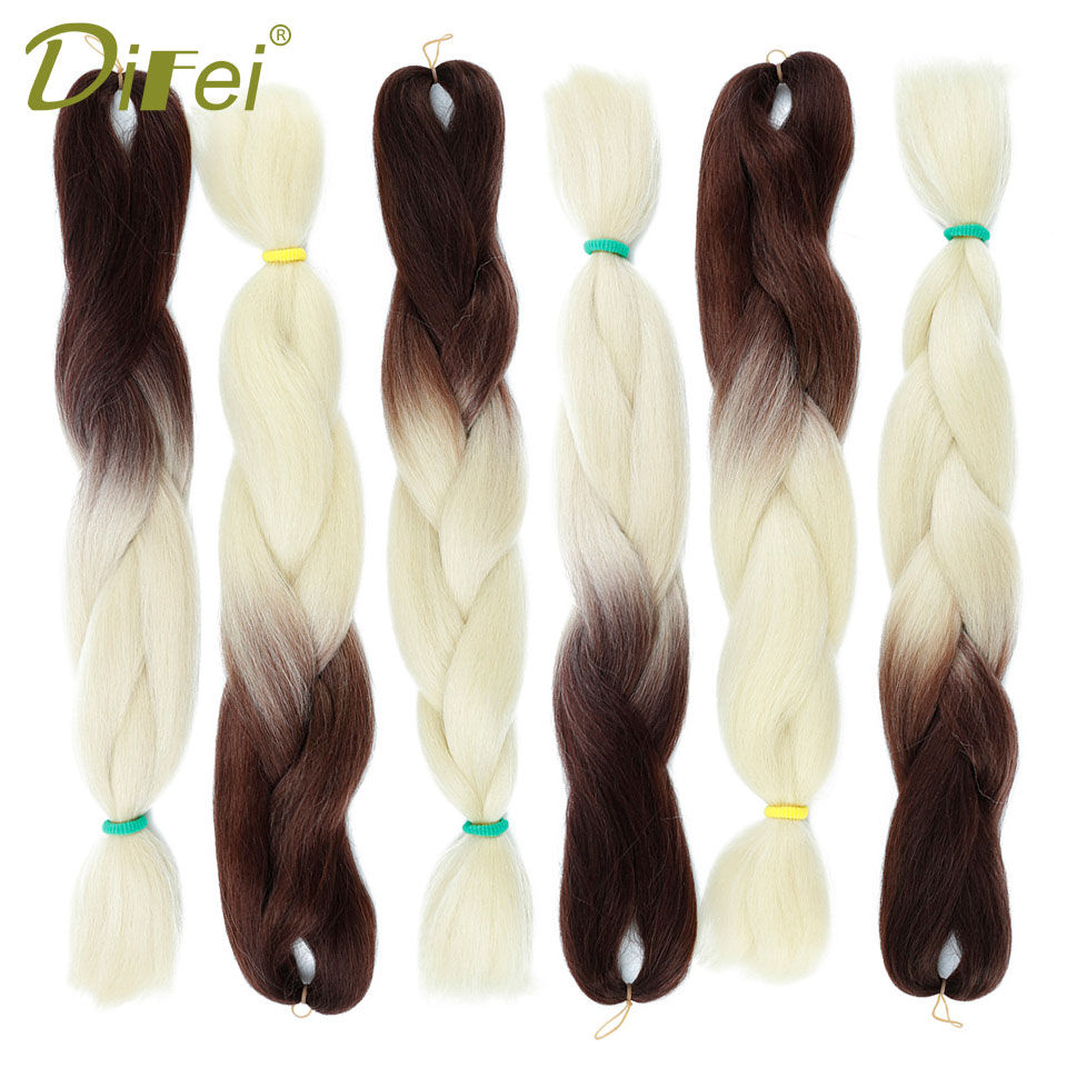 DIFEI Ombre Kanekalon Jumbo Braids Synthetic Braiding Hair 86Color Available 100g 24Inch Hair Extension Pink Blue Green 1pce