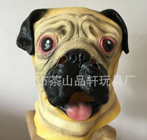 pug dog head latex mask full face adult mask breathable halloween masquerade fancy dress party cosplay costume cute animal mask in party masks from home