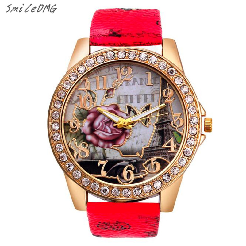 SmileOMG Hot Sale  Women Watch Rose Pattern Leather Band Analog Quartz Vogue Wrist Watches Free Shipping Christmas Gift,Sep 5 монитор iiyama prolite e2083hsd b1 19 5 черный tft tn 1600x900 dvi