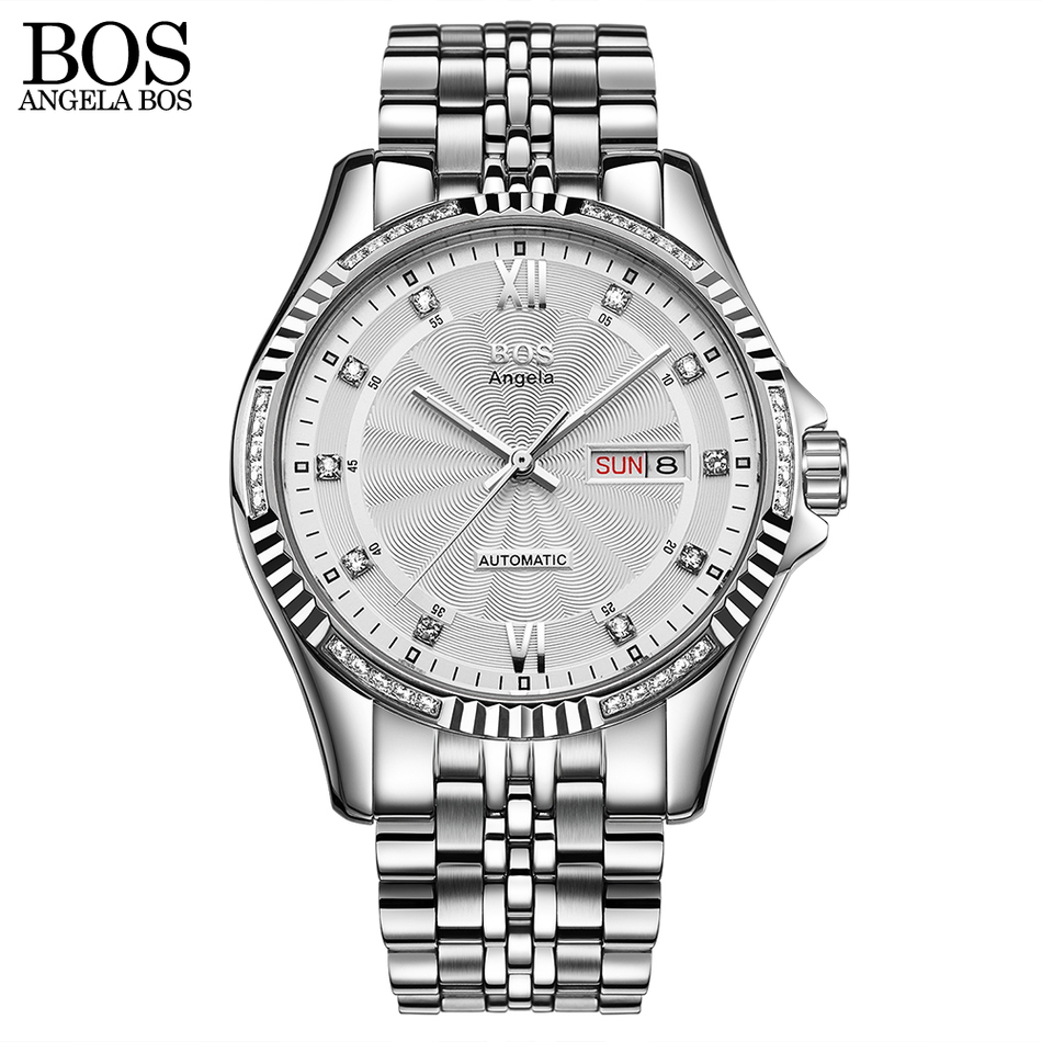 ANGELA BOS Stainless Steel 2018 Automatic Date Men Watch Mechanical Self-wind Luminous Calendar Date Waterproof Wrist Watch Gift