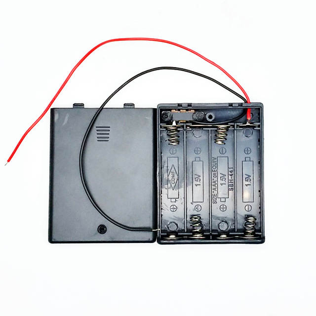 us $8 98 25% off 10pcs 6v 4 slots aaa battery holder case slot holder plastic storage box for 4 x aaa battery with off on switch wires in battery Marine Dual Battery Wiring Diagram