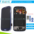Azul para samsung galaxy s3 i9300 i9305 lcd screen display toque digitador assembléia com frame substituições