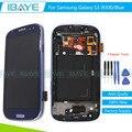 Azul para samsung galaxy s3 i9300 i9305 pantalla lcd táctil digitalizador asamblea con marco de reemplazo