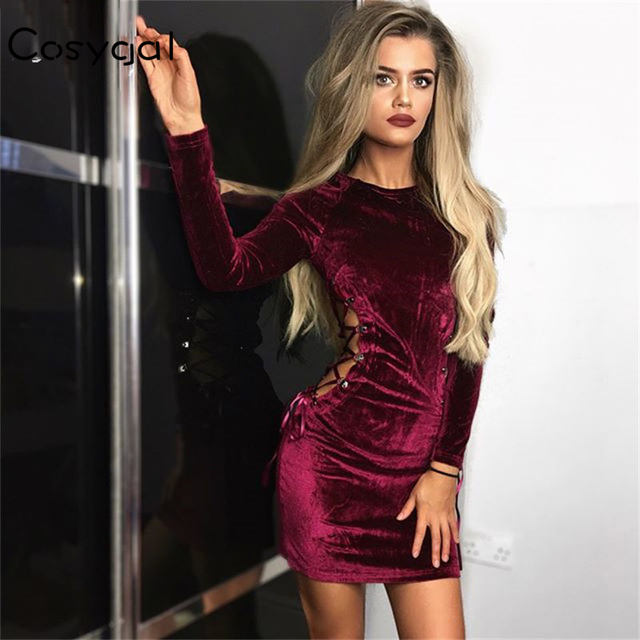 36eb905a62432 US $15.2 5% OFF|COSYGAL New Party Dresses Women Sexy Waist Side Hollow Out  Clubwear Vestidos Fashion Women Red Velvet Dress Elegant Robe Femme-in ...