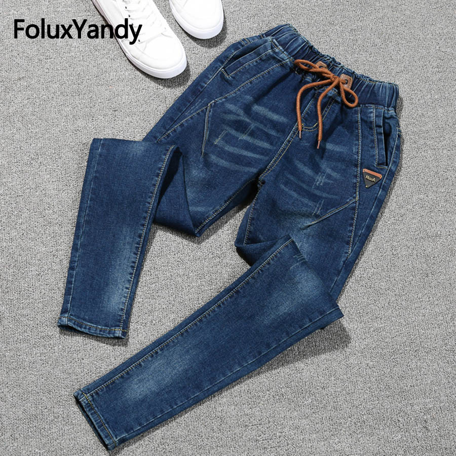 Elastic Jeans Women Plus Size 5XL Casual Mid Waist Slim Stretched Denim Pencil Pants Blue Black Jeans QNS73 in Jeans from Women 39 s Clothing