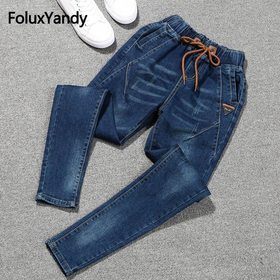 Elastic   Jeans   Women Plus Size 5XL Casual Mid Waist Slim Stretched Denim Pencil Pants Blue Black   Jeans   QNS73
