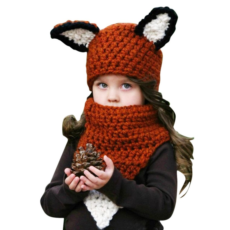 Christmas Gift Girls Hat Scarf Set Winter Warm Children Cap Baby Girls Winter Fashion Kids Hats With Ear 2 Pcs Sets zea rtm0911 1 children s panda style super soft autumn winter wear cap scarf set blue