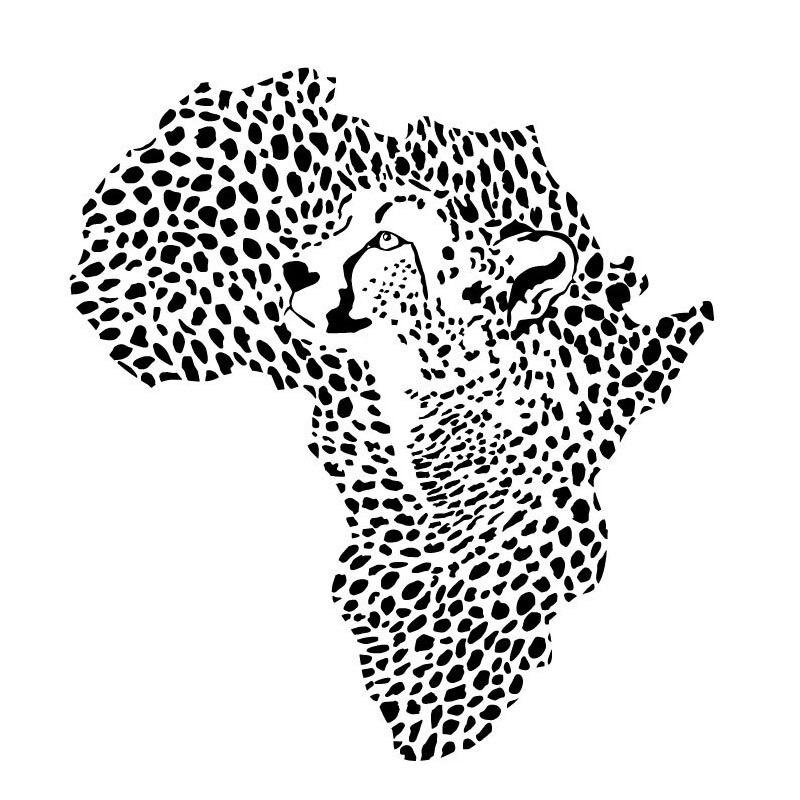 BucKoo hot wall stickers African Wild Leopard Map Wall