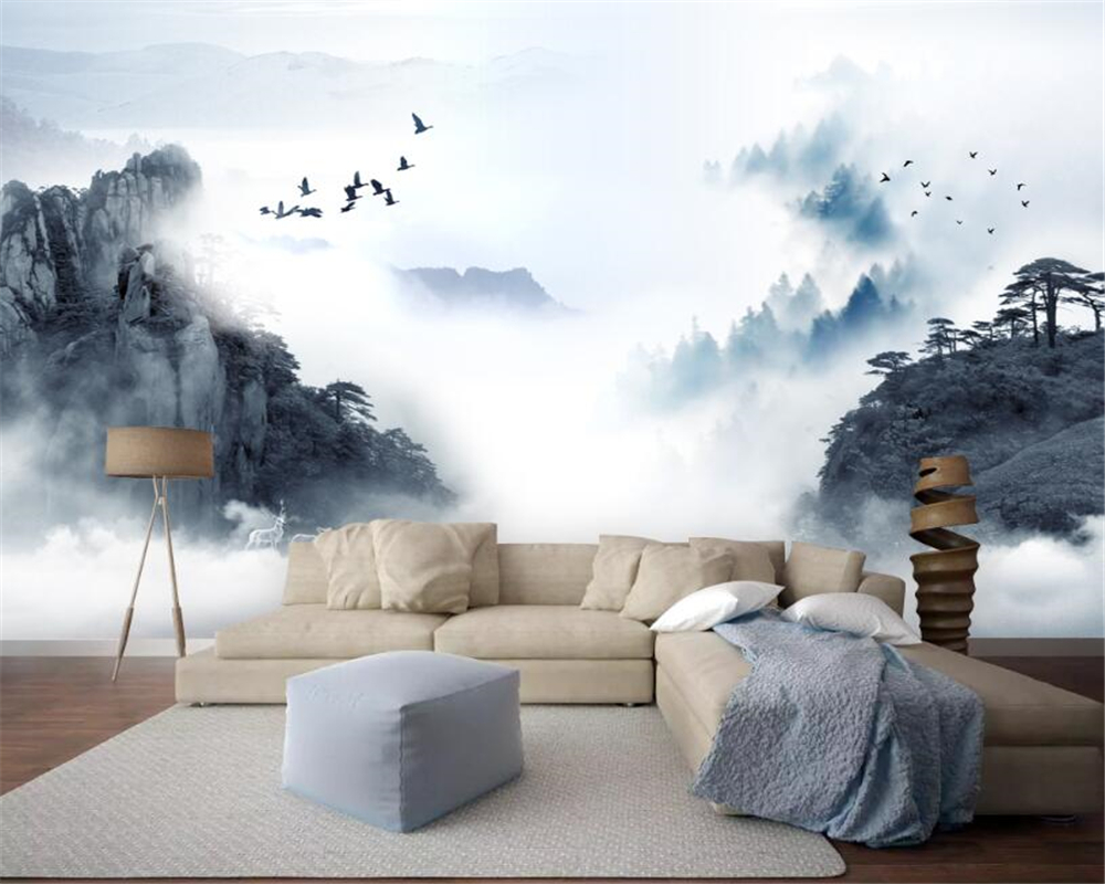 Beibehang Custom Wallpaper Ink Landscape Deer Forest Scenery Background Wall Wall Papers Home Decor Papel De Parede 3d Painting