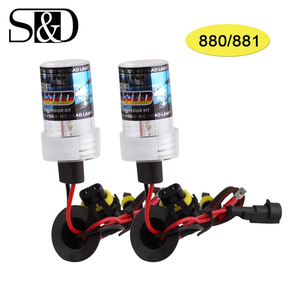 880 881 HID Xenon Replacement Bulbs Pair - H27 Auto Headlight Car Light Source 12V 35W ~ 55W Lamp White Yellow 3000K ~6000K D030 hid xenon bulbs replacement h1 35w 12v 4300k 6000k 10000k parking light fog light headlight car light 1 pair octavia for ford