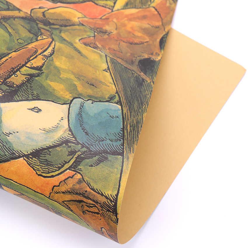 עניבת טיט הייאו מיאזאקי עמק של רוחות בר חדר ילדים בית תפאורה קראפט נייר פוסטר רטרו ישן נייר ציור 51x36cm