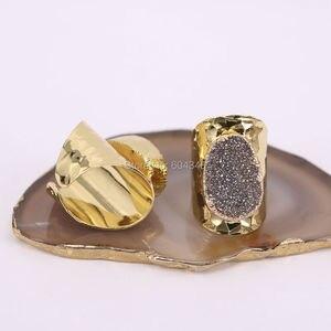 Image 3 - 5 יחידות הטבעי קוורץ רן טבעות סטון, תכשיטי טבעת אבן בנד טיטניום צבע זהב רחב