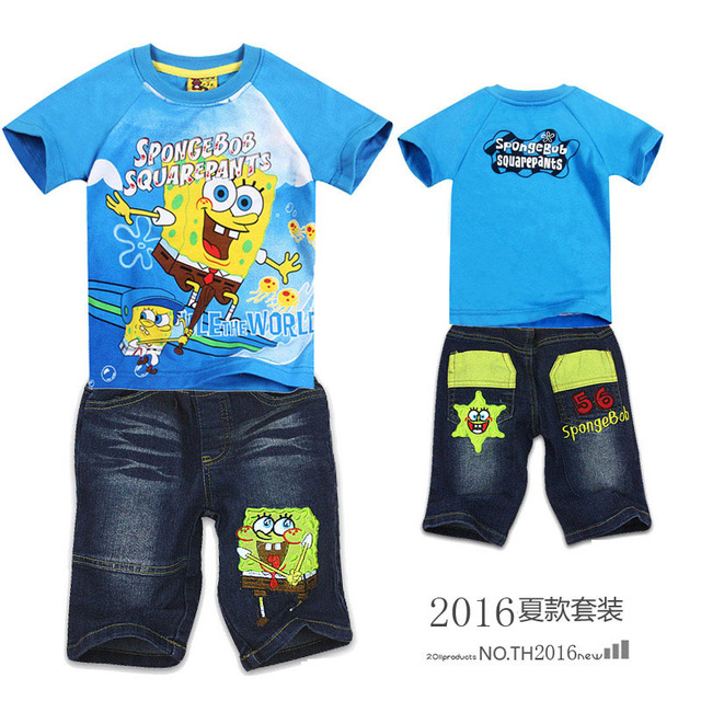 Retail 2016 New Children summer clothing set Boys Spongebob sport set Kids casual set short sleeve T-shirt and jeans sets MS0068