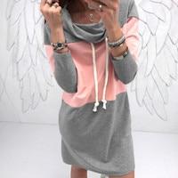 Plus Größe Sweatshirts Kleid Frau Rollkragenpullover Winter Warm Minikleider Frauen Femme Herbst Frühling Vestidos Hoodies Kleid GV147