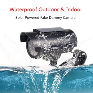Image 2 - Solar Fake Camera 4pcs Bullet Security Outdoor CCTV Dummy Camera Waterproof Surveillance Flashing Red LED Free Shipping Black