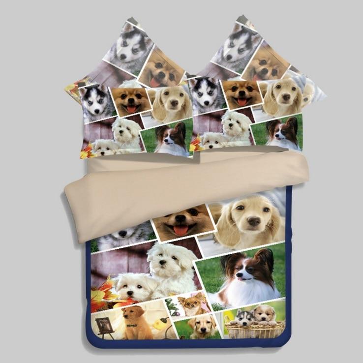Cute Dog Pet Printed Bedding Set Twin Full Queen King Size Bedroom Decor Comforter