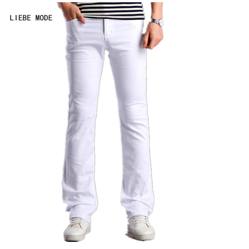 Men White Designers Flare Jeans Pants Fashion Casual Mens Wide Leg Bell Bottom Jeans Homme Men's Stretched Slim Denim Trousers