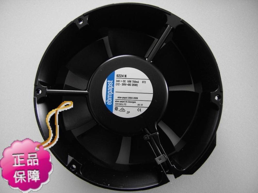 New Original German ebmpapst 6224N 172*51MM DC24V 18W inverter axial cooling radiator fan new original german ebmpapst 4606n 120 38mm ac110v 0 23a 20w high temperature axial radiator cooling fan