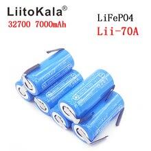 Liitokala 2019 bateria de 3.2v 32700 7000mah, 6500mah lifepo4 35a descarga contínua máxima 55a bateria de alta potência + folhas de níquel