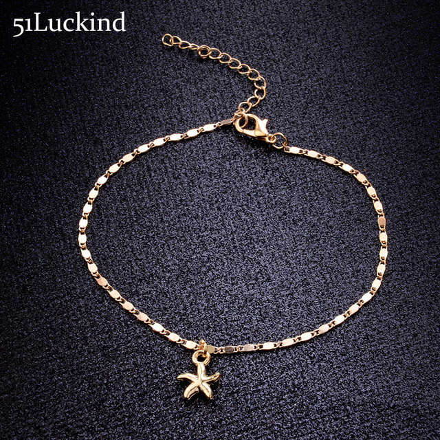 0f84d3ed65c Simple Gold Silver Color Chain Anklets Bracelets Cute Starfish Ankle  Bracelet For Women Barefoot Sandals Cheville Summer Jewelry