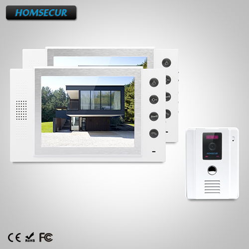HOMSECUR 8 Video Door Entry Security Intercom+White Camera for Home Security TC011-W + TM801-W