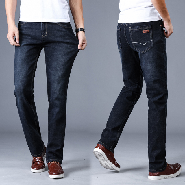 Leisure Slim Fit Stretch Jeans For Men Spring Autumn Solid Black Blue Skinny Long Classic Brand Denim Pants Casual Male Trousers