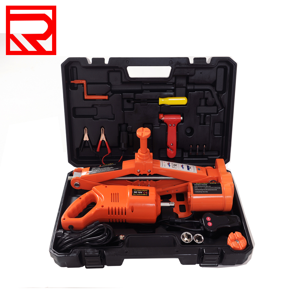 5Tons Electric Scissor Tire Replace Lifting Floor Jack With Impact Wrench Portable Car Jack
