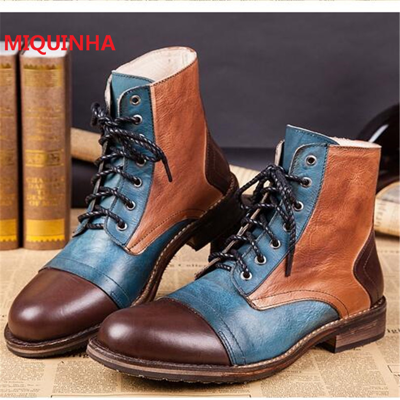 2017 Fashion Mixed Colors Mens Botines Hombre Botas Mujer Ankle Boots Lace Up Medium High Heels Men Bota Cowboy Military Boots