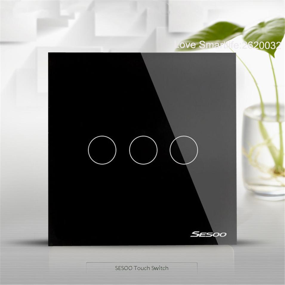 EUUK Standard SESOO Touch Switch 1 Gang2 Gang3 Gang 1 Way,Single Fireline Wall Light Switch,Black Crystal Tempered Glass-3