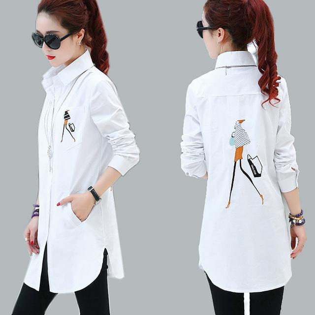 2016 Elegante Blusa bordado Camisa Branca Mulheres Plus Size Ladies Escritório Shirts Formal & Casual Algodão Blusas Blusas Femininas