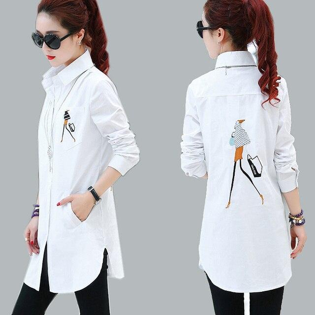 71dbdaec735 2019 Elegant embroidery Blouse White Shirt Women Plus Size Ladies Office  Shirts Formal   Casual Cotton