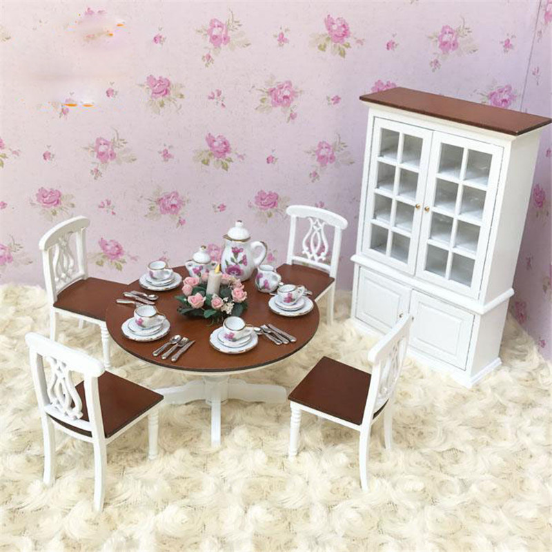 Doub K 1:12 Miniature Furniture toy white mini table sets cabinet Wooden household pretend play toys for girls dollhouse doll classic world pink princess mirror wooden toy female baby child pretend play vanity dressing table toys furniture for girl
