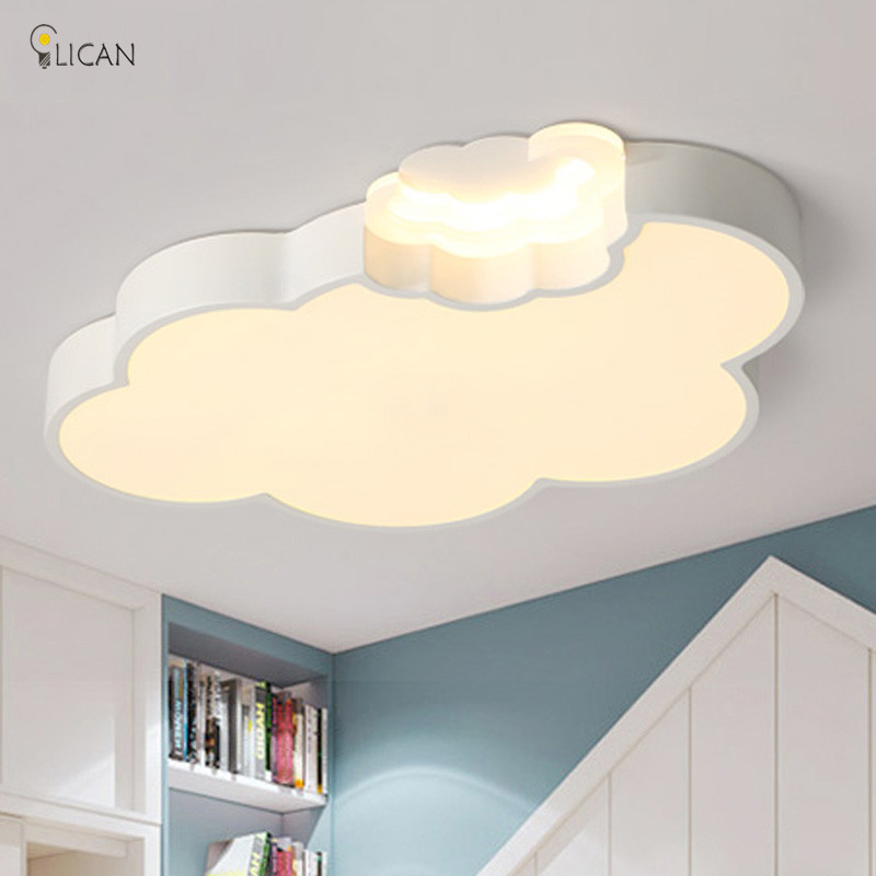 US $87.0 25% OFF|LICAN LED Cloud kids room lighting children ceiling lamp  Baby ceiling light with Dimming for boys girls bedroom Ceiling Lamp led-in  ...