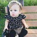 SY134 2016 verão conjunto de roupas meninas menina preto e branco ponto pontos voar manga camisas xadrez calções terno do bebê menina roupas