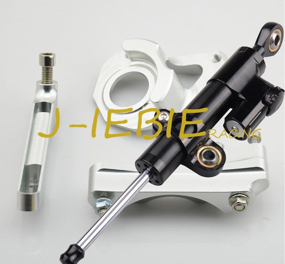 CNC Steering Damper Stabilizer and Silver Bracket Mounting For Suzuki GSXR 600 750 GSXR600 GSXR750 2004