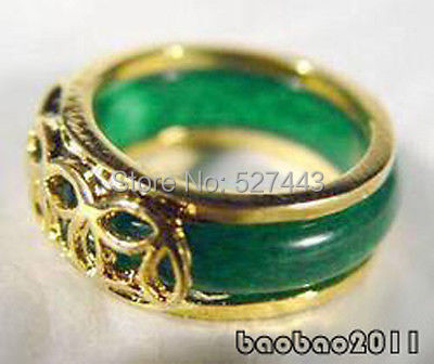 Wholesale FREE SHIPP >Green stone 18KGP Chinese Coin Fortune Ring Size:  .7.8