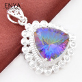 ENYA High Quality Pendants Shiny Rainbow Fire Mystic Synthetic Topaz Pendants For Men Jewelry Bijoux P1134