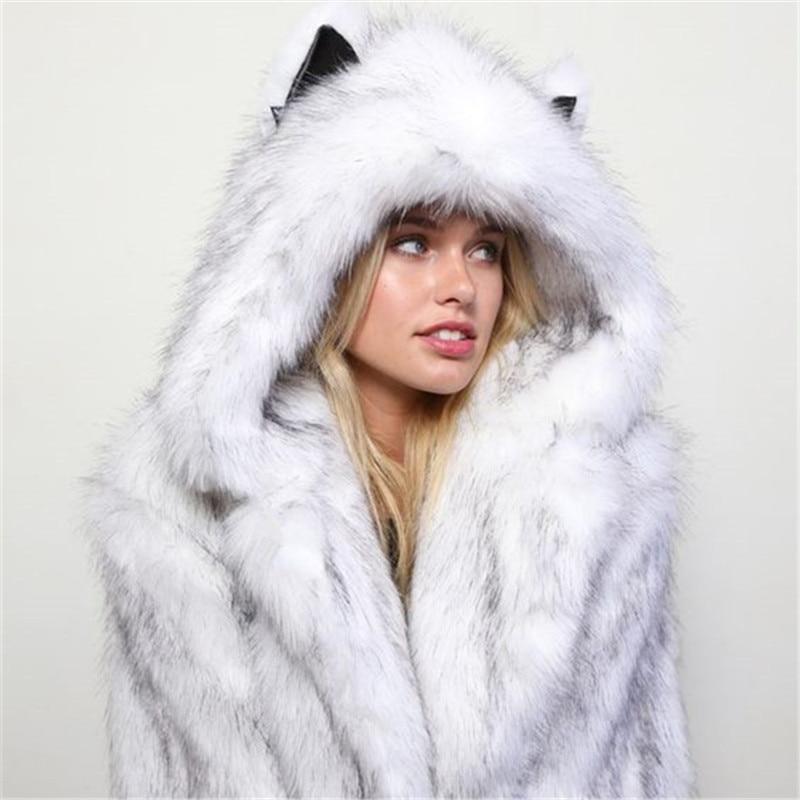 Nero Stile Streetwear Del Con 2019 Faux Delle Beige Casual Coreano Elegante grigio bianco Cappuccio Cappotto Inverno Nero Femminile Pelliccia Di il Più Donne Vestiti pwnXBOAXq