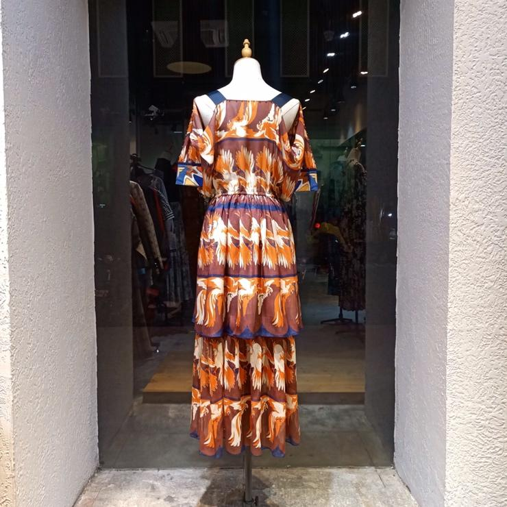 2019 new ladies fashion long sleeved V neck cotton dress 0415
