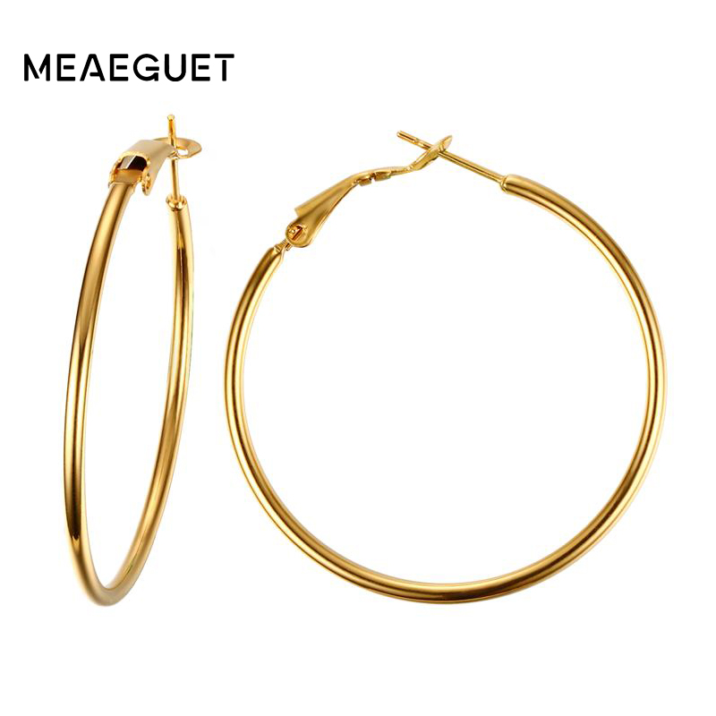 Meaeguet Stainless Steel Elegant Womens Exaggerated Big Circle Hoop Earrings Simple Loop Earring Jewelry Brinco ...
