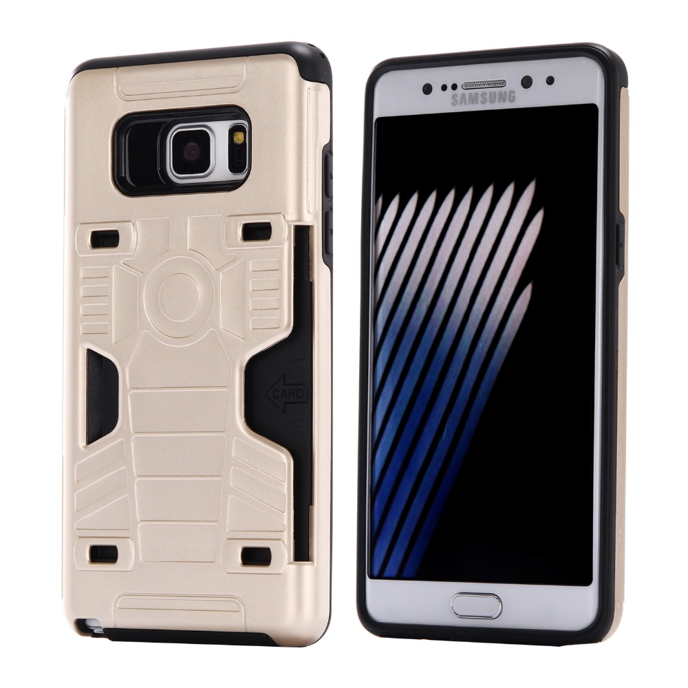 50pcs/lot Free shipping 8colours Gold belt card TPU+PC parts phone case cover for samsung galaxy note 7 back cover case